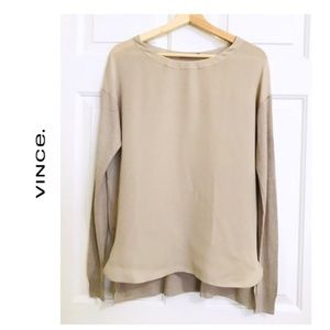 Vince Long sleeves DoublePanel Silk Blouse sweater